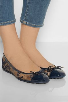 Jimmy Choo Waltz lace and patent-leather ballet flats $525