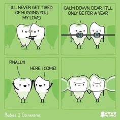 A Self-Taught Illustrator From Colombia Draws Comics That Combine Cuteness and Sarcasm Funny Braces Humor, Humor Dental, Funny Dental Memes, Really Funny Memes, Stupid Funny Memes, Funny Relatable Memes, Orthodontic Humor, Beste Comics, Illustrator