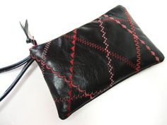 black leather wristlet clutch with red and pink by GirlGeniusGoods, $48.00