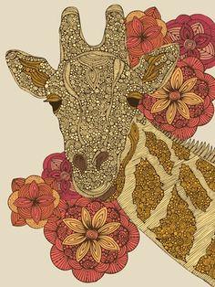 The Giraffe Print by Valentina Ramos Giraffe Photos, Giraffe Art, Giraffe Decor, Elephant Print, Geometric Nature, Nature Sketch, Popular Art, Illustrations, Artist Art