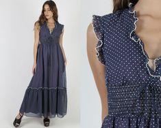 Polka Dot Maxi Dress / Long Navy Blue Smocked Waist Dress / Swiss Dot Full Skirt Prairie Style / Vintage 70s Rustic Peasant Dress Polka Dot Maxi Dresses, 1970s Dresses, Swiss Dot, Vintage 70s, Dress Long, Bodice, Polka Dots, Navy Blue, Rustic