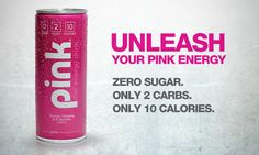 Specially formulated with Taurine, Ginseng and essential B vitamins, Pink stimulates the senses and provide a natural energy boost to suit everyone on the go.  Pink Diet Energy Drink features a wild pink colour and its light, crisp berry flavour are both delicious and refreshing. With only 10 CALORIES , 2 CARBS  and ZERO SUGAR  - Pink is the obvious healthy alternative, since it has 40% less caffeine than other popular energy drinks.