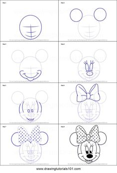 How to Draw Minnie Mouse Face from Mickey Mouse Clubhouse step by step printable drawing sheet to print. Learn How to Draw Minnie Mouse Face from Mickey Mouse Clubhouse 3d Drawings, Doodle Drawings, Cartoon Drawings, Animal Drawings, Drawing Animals, Drawing Faces, Cartoon Faces, Minnie Mouse Drawing, Mickey Mouse Drawings