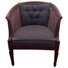 Mid-Century Cane Barrel Back Chair on Chairish.com