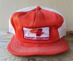 0a43f4e742636 Vtg CROWN ZELLERBACH Sandspit Operations Mesh Trucker Hat K-Brand Snapback  Cap