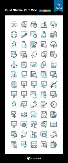 Dual Stroke Part One  Icon Pack - 65 Line Icons