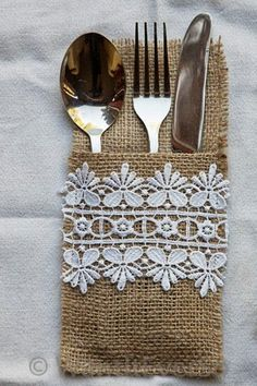 Items similar to Burlap / Hessian & Lace Cutlery Holder Set of Four - Perfect Home or Wedding Decoration on Etsy Burlap Projects, Burlap Crafts, Diy And Crafts, Arts And Crafts, Burlap Lace, Hessian, Sewing Crafts, Sewing Projects, Craft Projects