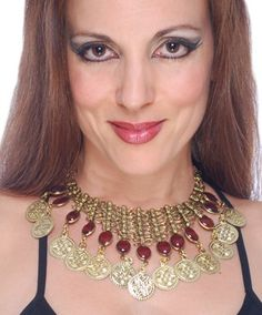 Metal Mesh Coin Necklace with Glass Charms - BURGUNDY  http://www.bellydance.com/Metal-Mesh-Coin-Necklace-with-Glass-Charms--BURGUNDY_p_4613.html