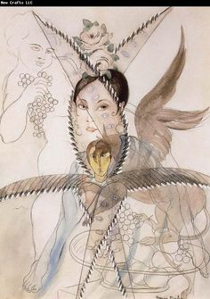 Francis Picabia - The Head portrait and the horse having Feather and wing.