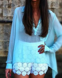 Lace shorts are perfect for summer and they look great paired with this blue sheer top!