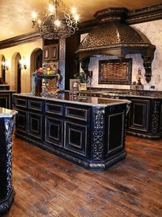 24 Beautiful Dark Kitchens Part 1 Check us out on Fb- Unique Intuitions…