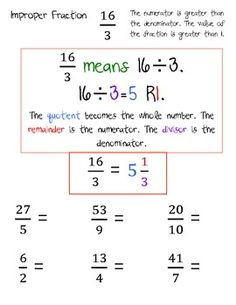 Improper Fractions and Renaming Mixed Numbers. by Taylor Parker Teaching 5th Grade, Fifth Grade Math, Teaching Math, Maths, Math Strategies, Math Resources, Homeschool Math, Homeschooling, Improper Fractions