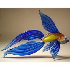 Blown Glass Art Figurine Blue Beta FISH