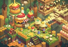 ArtStation - NDC 2016 JAY KIM (color (maybe less yellow), juicy toy shapes) Isometric Art, Isometric Design, Bg Design, Game Design, Graphic Design, Environment Concept Art, Environment Design, Low Poly, Pixel Art