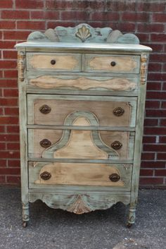 Beautiful chest painted in Coco, Duck Egg Blue and Country Grey Chalk Paint® decorative paint and distressed with Dark Soft Wax | Daisy Mae Belle