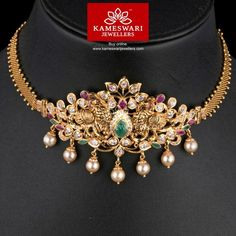 Gold Jewelry Kalapi Bhajubandh cum Choker - Bhajubandh and chain(included) L : inches ; Chain W: inches Pendant L : inches ;W : 2 inches Gold Earrings Designs, Necklace Designs, Gold Designs, Gold Wedding Jewelry, Gold Jewelry, Jewelry Necklaces, India Jewelry, Gold Bangles, Cross Necklaces