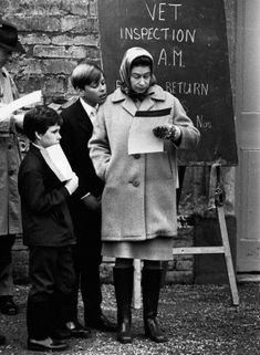 Queen Elizabeth II with her son Prince Andrew and nephew David Armstrong-Jones, Viscount Linley, at the veterinary inspection during the Badminton Horse Trials, 1972.