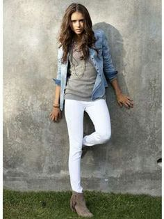 ELENA GILBERT OUTFIT VAMPIRE DIARIES DENIM WHITE PANTS INDIAN SHOES