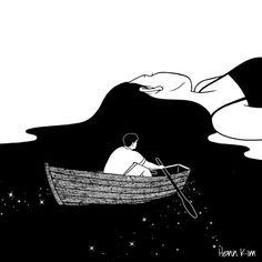 Surreal and Minimalistic Illustrations from Henn Kim Henn Kim is an illustrator from South Korea. Her drawings, always in black and white, evoke themes. Art And Illustration, Landscape Illustration, Kunst Inspo, Art Inspo, Hipster Vintage, Henn Kim, Dark Art, Line Art, Amazing Art