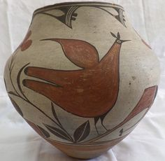 American Indian Pottery : American Indian 1930's Zia Bird Pottery Olla #5