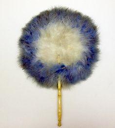 fluffy blue white feather duster Antique Fans, Vintage Fans, Vintage Accessories, Hair Accessories, Hand Held Fan, Hand Fans, Old Fan, Umbrellas Parasols, Blue Feather