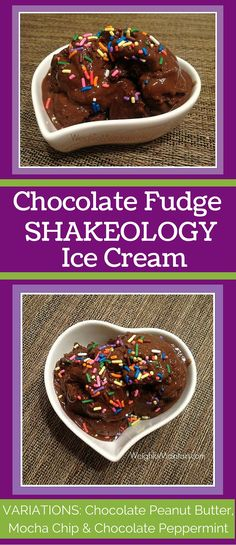Chocolate Fudge Shakeology Ice Cream recipe uses only 3 ingredients to give you a guilt-free treat that feels like a cheat!  Packed with protein and superfood nutrition.  See variations for Chocolate Peanut Butter, Mocha Chip and Chocolate Peppermint Shakeology Ice Cream.  Recipe at WeighToMaintain.com.