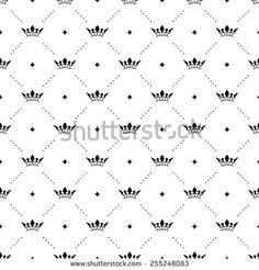 Seamless vector black pattern with king crowns on a white background