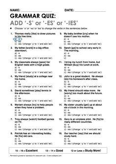 """Add """"-s"""" or """"-es"""" or """"-ies"""" Grammar Quiz"""