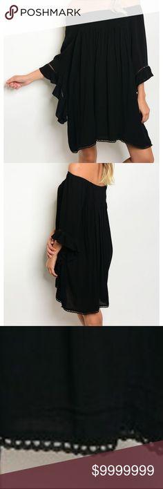 Black Bohemian Off Shoulder Shift Midi Dress Fabric Content: 65% COTTON 35% POLYESTER Black Bohemian Off Shoulder Midi Dress golden threads Dresses