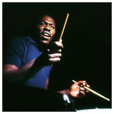Elvin Jones, of the Jones jazz dynasty (also counting pianist Hank and composer & trumpeter Thad), played with Coltrane in his Quartet from appearing on albums such as A Love Supreme. Jazz Artists, Jazz Musicians, Music Artists, Senior Boy Photography, Musician Photography, Steve Davis, Miles Davis, Francis Wolff, A Love Supreme