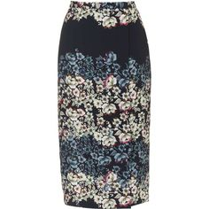 TOPSHOP Flower Border Wrap Midi Skirt ($68) ❤ liked on Polyvore featuring skirts, black, floral midi skirt, mid calf skirt, calf length skirts, flower skirt and floral print skirt