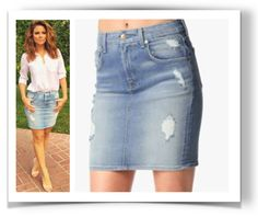 Maria Menounos is wearing the 7 For All Mankind Destroyed Mid Rise Pencil Light Blue Denim Skirt. From $139 USD. More celebrities in denim skirts in blog post.