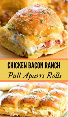 Bacon Ranch Pull Apart Rolls Healthy Dinner Recipes Easy You'll Actually Look Forward To Eating!Chicken Bacon Ranch Pull Apart Rolls Healthy Dinner Recipes Easy You'll Actually Look Forward To Eating! Frango Bacon, Think Food, Clean Eating Snacks, Healthy Eating, Dinner Healthy, Appetizer Recipes, Bacon Dinner Recipes, Party Appetizers, Sandwich Appetizers