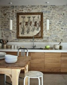 gorgeous stone wall, love the wood cabinets and modern pendants, cocina, muebles de madera, encimera blanca y pared de piedra Küchen Design, House Design, Design Ideas, Wall Design, Design Elements, Dark Wood Cabinets, White Cabinets, Wall Cabinets, Cabinet Doors