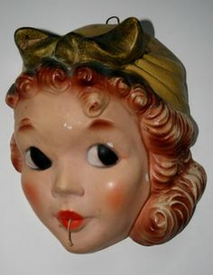 ANTIQUE CHALKWARE ROSIE THE RIVETER STRING HOLDER UNUSUAL COLOR