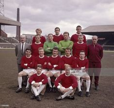 Manchester United at Old Trafford Manchester prior to the FA Cup Final April 1963 Back row left to right Denis Law Shay Brennan and Bill Foulkes. Old Trafford, Man Utd Fc, Bobby Charlton, Manchester United Players, Fa Cup Final, Man United, Liverpool, The Unit, Denis Law