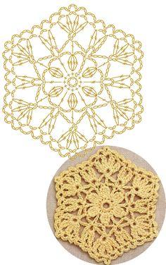 No.39 Flowering Hexagon Lace Crochet Motifs / 플라워 헥사곤 모티브도안