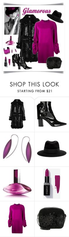 """""""Marques'Almeida Shearling Trimmed Patent Leather Coat"""" by romaboots-1 ❤ liked on Polyvore featuring Marques'Almeida, Robert Clergerie, Maison Michel, Calvin Klein, Alexander McQueen, Yves Saint Laurent and Alexis Bittar"""