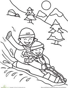 Worksheets: Sledding Coloring Page