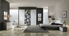 Elegant bedroom beautiful accent walls Sidetable plant image