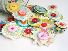 Thejellybeanstudio - button flowers are just perfect in every way!! Each one has been carefully crafted by me using only the best of paper and buttons! Some even have a delightful piece of lace sewn in between the layers of paper :) Use them for adding to journals, gift tags, greetings cards, scrapbook pages.......everywhere and anywhere you can think of!! {D E T A I L S } * You will receive a RANDOM selection of 10 paper flowers * All of the paper flower have been hand punched and as...