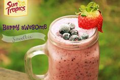 Learn how to make this Berry Awesome Smoothie with just a handful of ingredients, a blender, and yummy Sun Tropics juice!