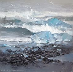 Olga Abramova, pastel art, Iceland  Исландия. Льдины и океан 50х50, 2014