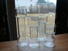 Mid Century Danish Modern Graduating Set Glass Cylinder Vases