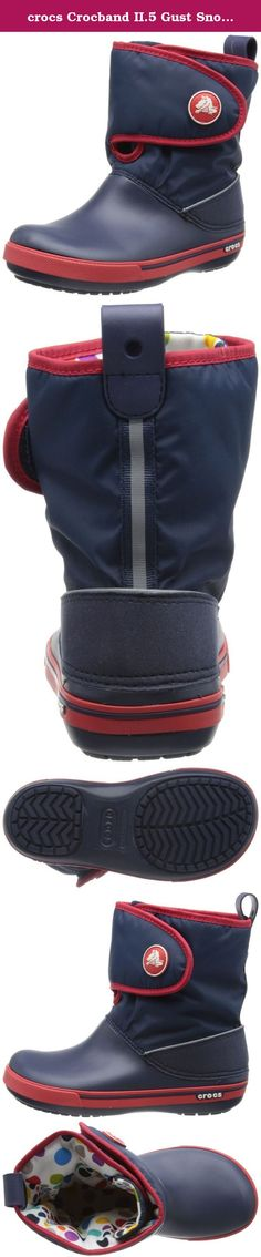 crocs Crocband II.5 Gust Snow Boot (Toddler/Little Kid/Big Kid),Navy/Red,9 M US Toddler. Crocs Crocband II.5 Gust Boot Kids - Navy/Red Cozy winter boos help keep feet warm on chilly winter days.New sporty Crocband rand.Croslite material base for lightweight comfort.Durable nylon upper with fill for warmth.Hook and loop closure for easy on and off.Rubber outsole pods for increased traction and durability. *Please note: Junior Size J3's are the equivalent of a women's size 5. Crocs in this...