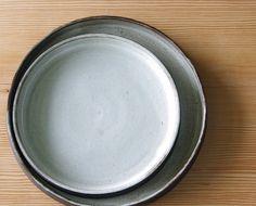 black white plate low serving tray entree plate nesting platter set modern minimal rustic stoneware pottery ceramic