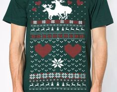 Ugly Christmas sweater t shirt -- mens unisex --- Moose Love ---- sizes sm med lg xl xxl skip n whistle