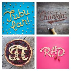 Food Typography: Danielle Evans does awesome things with food, fonts + fun plays on words
