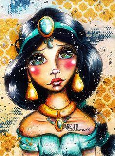 Big Eye Disney Princess Jasmine Aladdin - Art Crawl - Fan Art