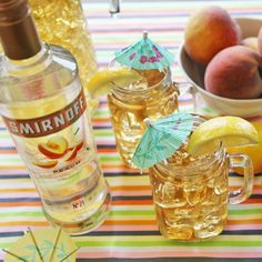 PEACHED TEA PUNCH. Rain or shine, it's finally time to take the party outside with a Spring punch that's way easier than Spring weather. Just mix1.5 Cups of Smirnoff Peach, 4 Cups of Iced Tea and enjoy with 8 friends.